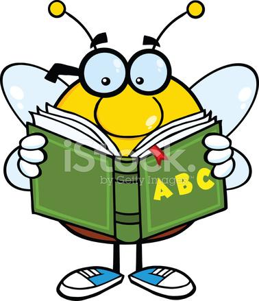 personagem de mascote de desenho de abelha com Óculos lendo um