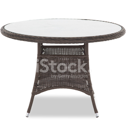 Patio Glass Top Wicker Dining Table Stock Photos Freeimages Com