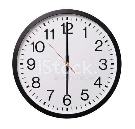 Wall Clock AT 6:00 Stock Photos