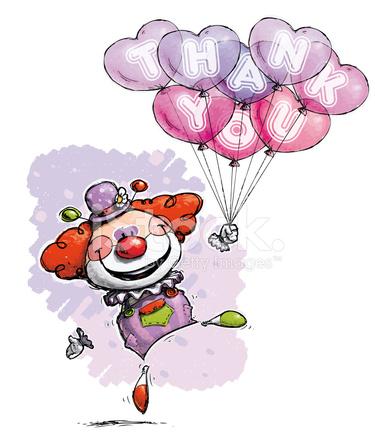 Palyaço Ile Kalp Balonlar Söyleyerek Teşekkür Ederim Stock Vector