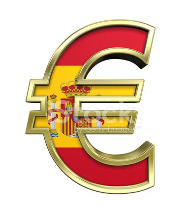 Or signe euro avec drapeau d 39 espagne isol sur photos - Drapeau d espagne a colorier ...