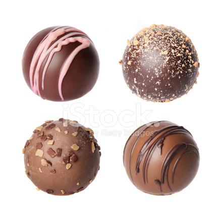 Chocolate Candies Beautiful Belgian Truffles Isolate Stock Photos