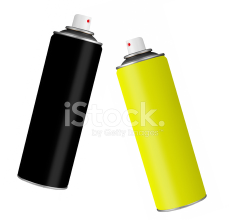 Spray Paint Cans Black and Yellow, Isolated Over White Stock Photos