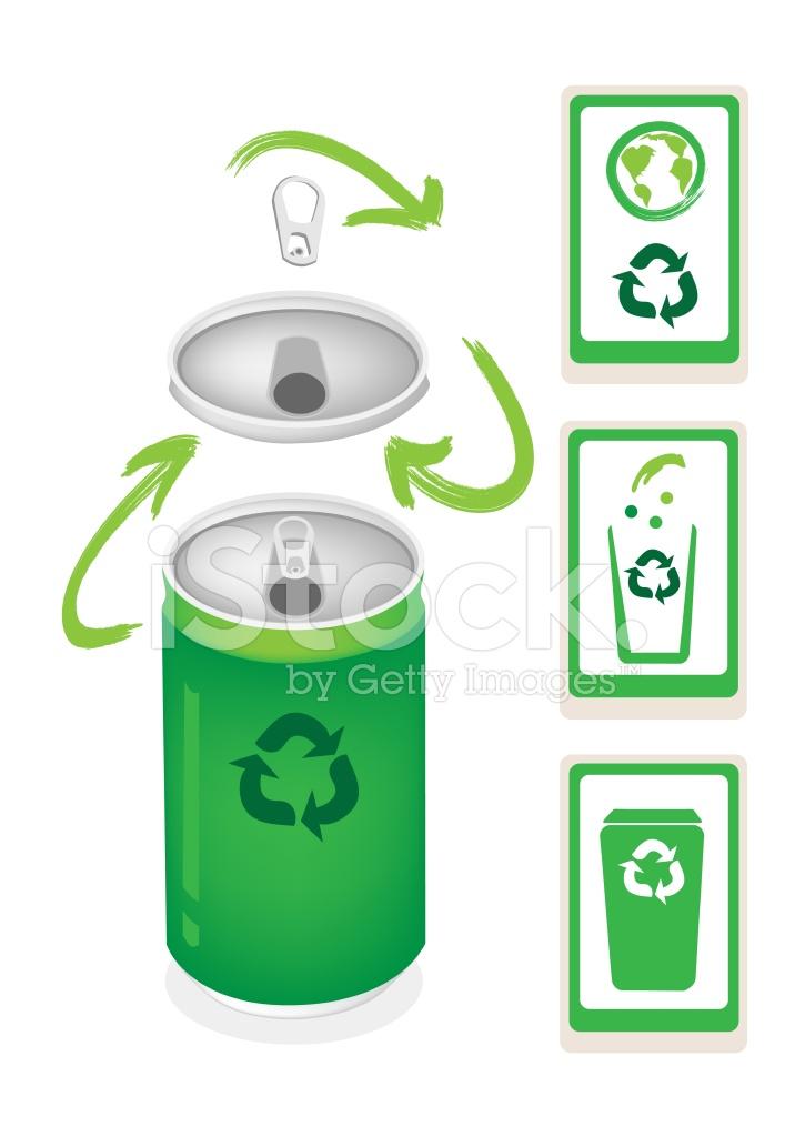 Aluminium Met Recycle Symbool En Prullenbak Stock Vector
