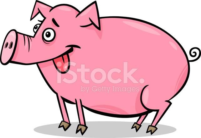 Illustrazione di maiale fattoria degli animali dei cartoni - Animali dei cartoni animati a colori ...