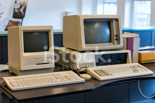 Very Old Computers on AN Office Desk Stock Photos