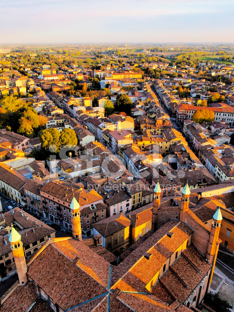 Cremona, View from Cathedral Tower, Lombardy, Italy Stock ...