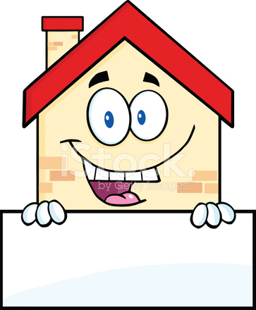 Boş Oturum Bir Mutlu Evi çizgi Film Maskot Karakter Stock Vector