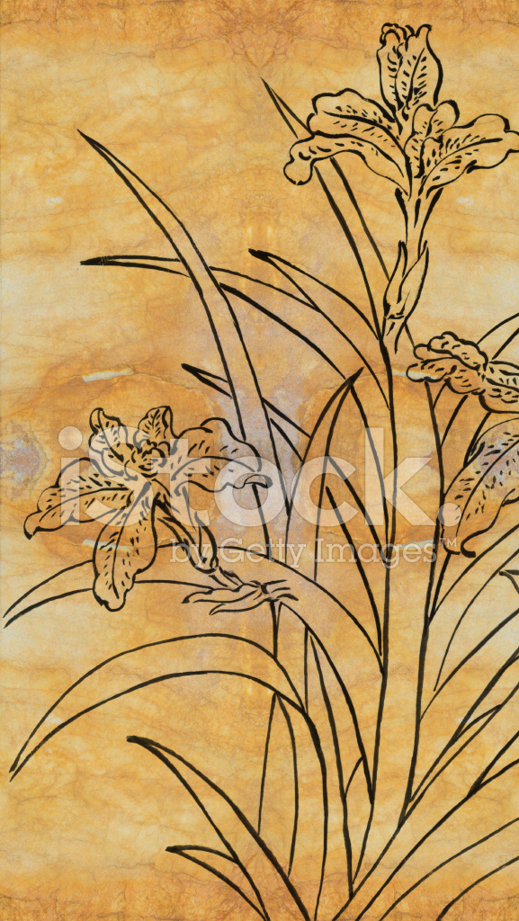 Line Art Painting : 中国画与纸张的纹理 — 线描、 花 stock vector freeimages