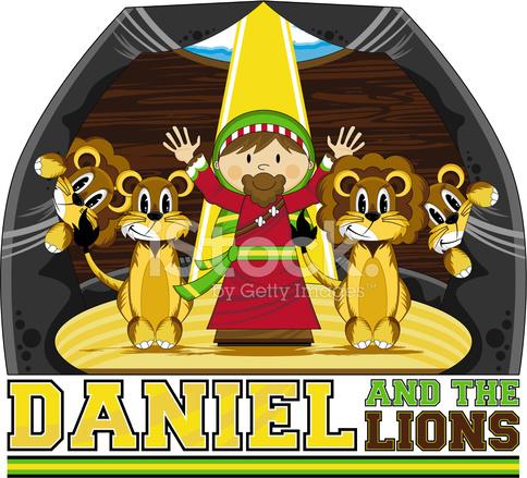 Daniel Amp The Lions Bible Illustration Stock Vector