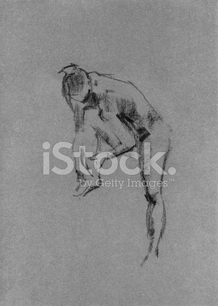 Dibujo En Carboncillo Y Tiza De Cuerpo De Mujer Desnuda Stock Vector