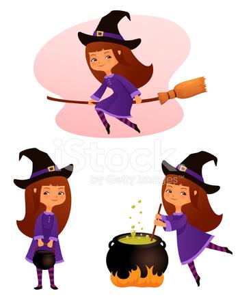 かわいい魔女の女の子のイラスト Stock Vector Freeimagescom