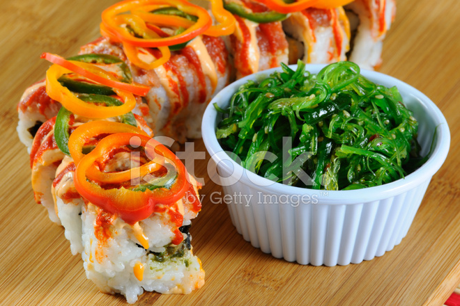 Sushi and Seaweed Salad Stock Photos - FreeImages com