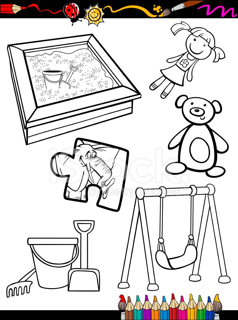 çizgi Film Oyuncakları Nesneler Sayfa Boyama Stock Vector