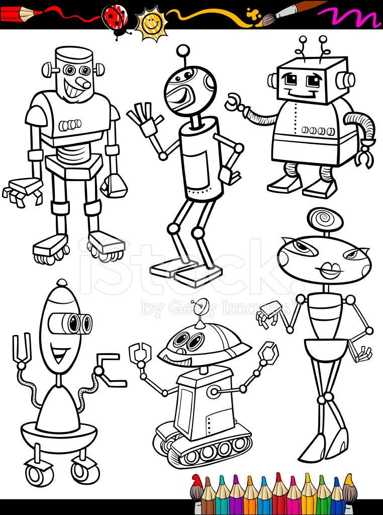 Robotlar çizgi Film Boyama Kitabı Için Ayarla Stock Vector