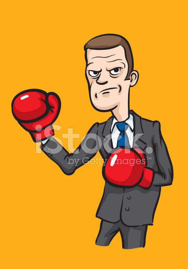 Caricature Homme homme d'affaires en colère de caricature avec gants de boxe stock