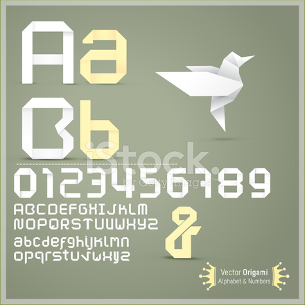Origami alphabet letters Paper Royalty Free Vector Image   440x440