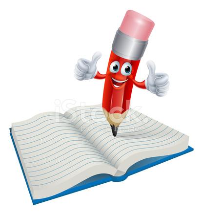 Crayon De Dessin Anime Par Ecrit Dans Le Livre L Homme Stock