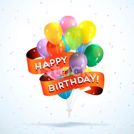 Happy Birthday Ballons Stock Vector