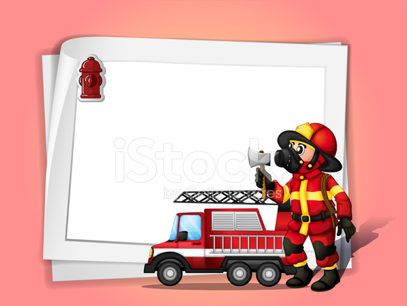 Fireman Holding Ax Beside His Fire Truck Stock Vector