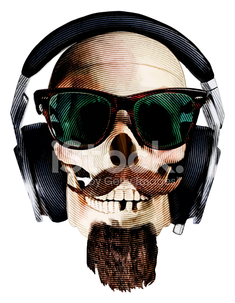 Hipster Skull Wearing Sunglasses and Headphones Stock