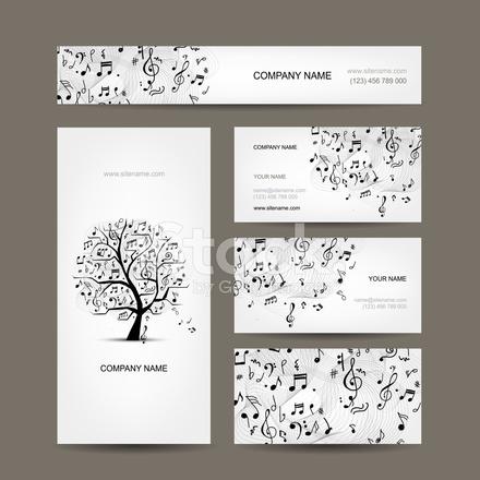 Visitenkarten Kollektion Mit Design Musik Stock Vector