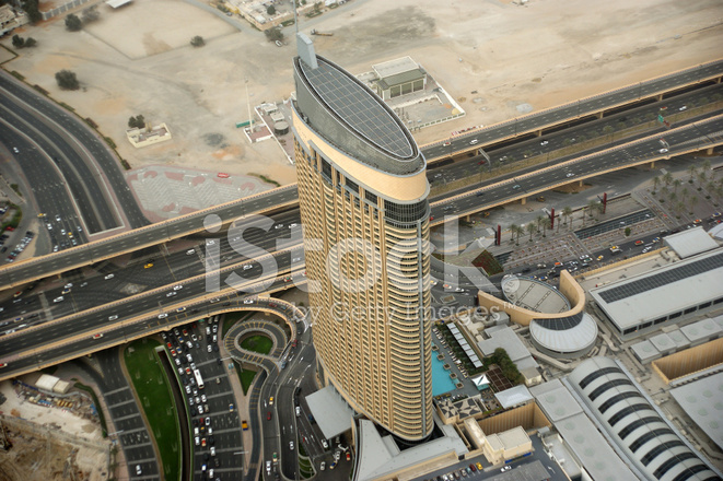 Dubai, Aerial View from The Height of Burj Khalifa Stock Photos