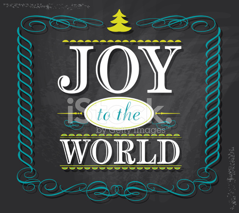 Joy To The World Word Design On Chalkboard Background