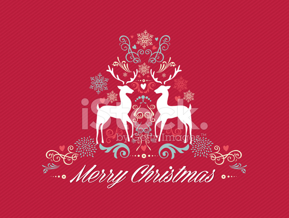 Vintage Merry Christmas Text With Reindeers Design Eps10 Stock ...