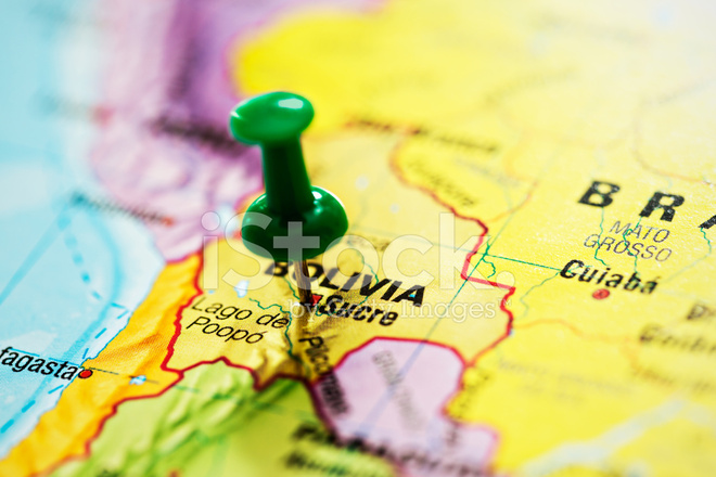 Sucre Capital of Bolivia Marked With Green Pushpin on Map Stock
