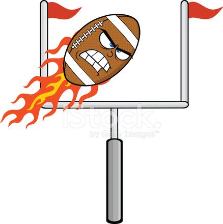 Angry Flaming American Football Ball Cartoon Character With