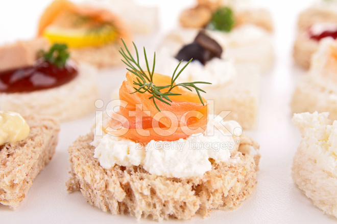 Canape with cheese cream and salmon stock photos for Cream cheese canape
