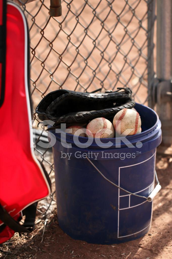 Bucket of Baseballs, Glove and Gear Copy Stock Photos