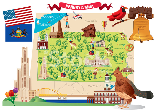 Cartoon Map of Pennsylvania Stock Vector - FreeImages.com on not to scale map, sci fi map, road map, political map, childrens map, countries flags map, simple map, french map, office map, car and map, cute map, tube map, game map, classroom map, me on the map, watercolor map, student with map, vintage map,