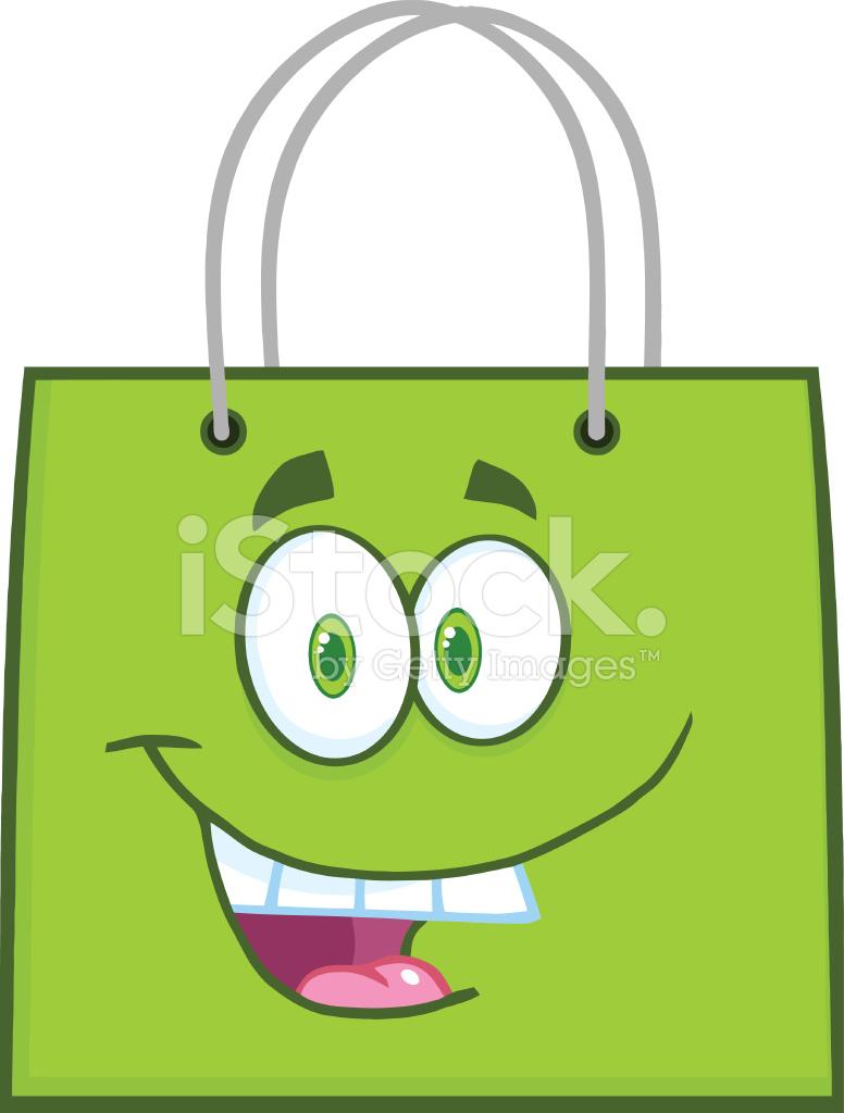 Saco De Compras Verde Feliz Cartoon Personagem De Mascote Stock