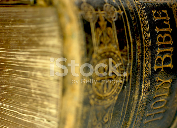 Vintage Leather Look Jeremiah Verse Bible Book Cover Large: Spine Of Old Ancient Holy Bible Stock Photos