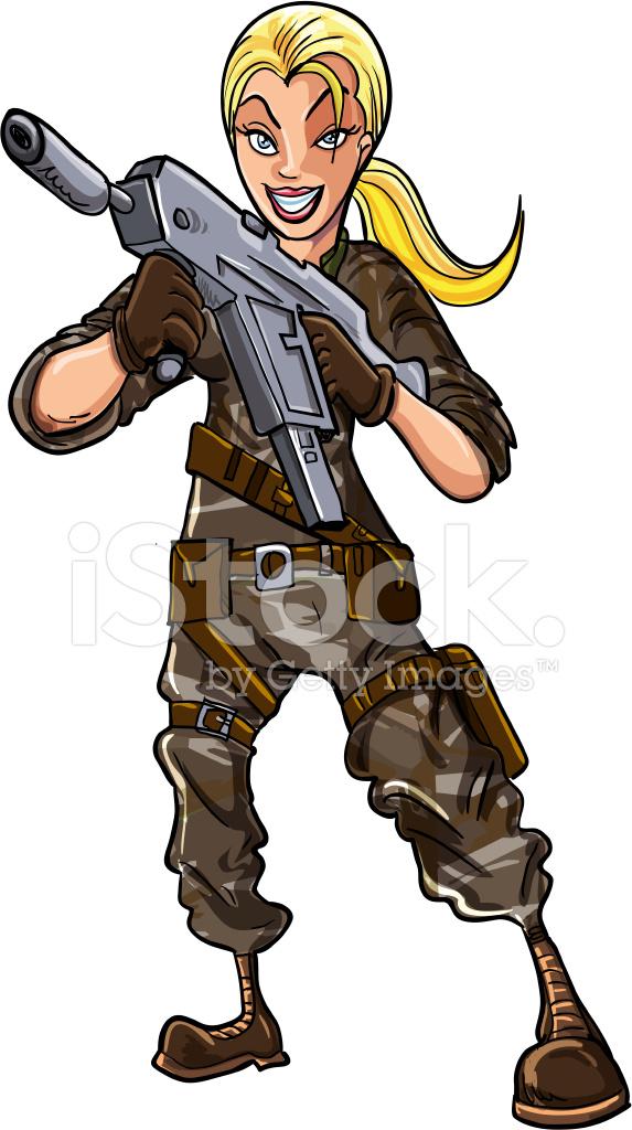 Cartone animato il soldato con la mitragliatrice