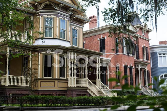 Savannah historic homes stock photos for Historic houses in savannah ga