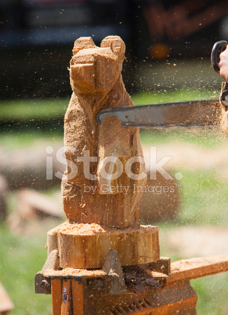 Chainsaw carving of bear stock photos freeimages