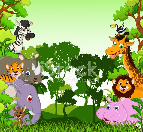 cute animal cartoon with tropical forest background stock vector freeimages com Mountain Lion Face Cartoon Mountain Lion