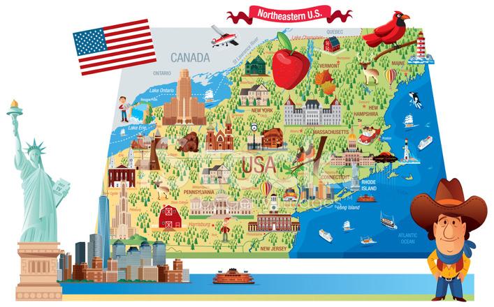 Cartoon Map Of Northeastern Stock Vector FreeImagescom - Cartoon map of the us