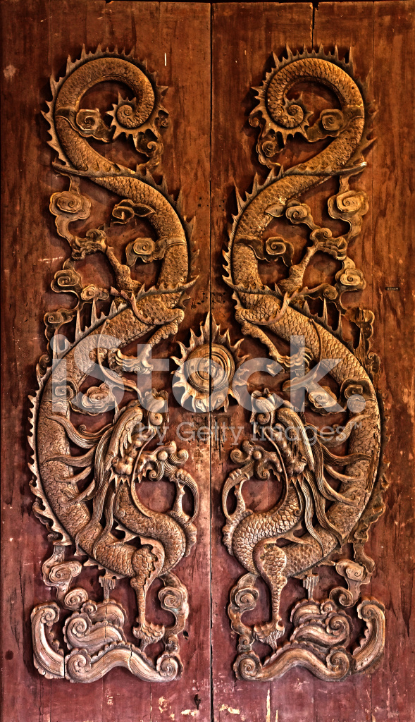 Wooden Door Carved Dragon Chinese Stock Photos