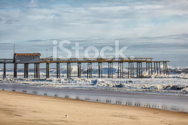 Ocean city md fishing pier after winter nor 39 easter storm for Ocean city md fishing pier
