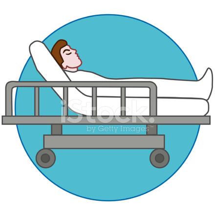 Paciente Acostado En LA Camilla Camilla O Hospital fotografas de