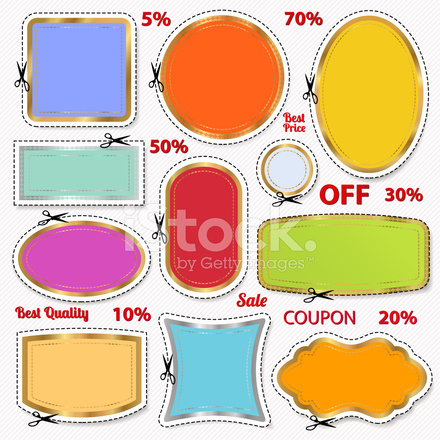 set sale coupons labels blank frame scissors cut o stock vector