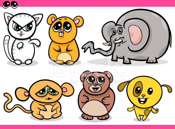 Kawaii Sevimli Hayvanlar çizgi Film Stock Vector Freeimagescom