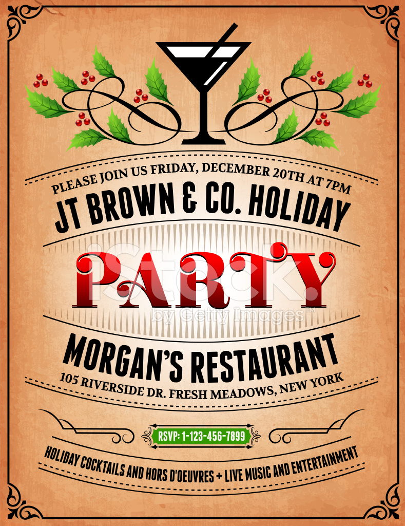 new year party and holiday celebration invitation card