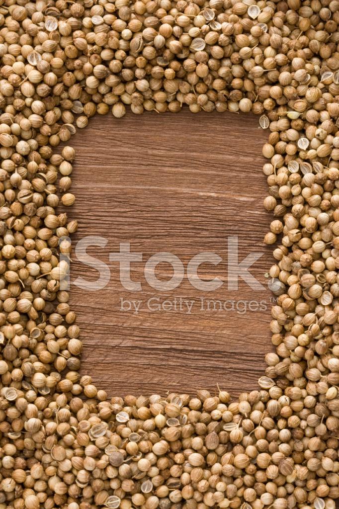 Coriander On Wood Stock Photos