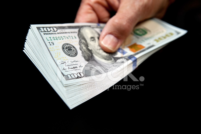 Hand Holding New US 2013 $100 Bill Stack Stock Photos