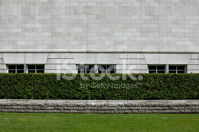 Bakstenen Muur Tuin : Exterieur witte bakstenen muur en tuin als achtergrond stockfotos